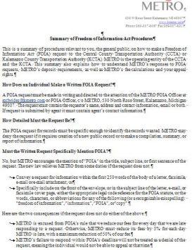 Metro FOIA Detailed Information