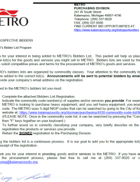 Metro Bid Registration Form