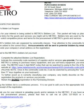 Metro Bid Registration Form